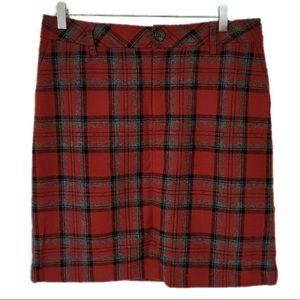 Eddie Bauer Red Plaid Wool Skirt Size 8